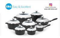 Classic Aluminum die cast non-stick cookware set with ceramic coating die-casting