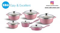 Pink Floral Pattern Rose Aluminum die cast non-stick cookware set with ceramic coating die-casting
