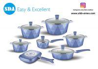 Diamond Blue Aluminum die cast non-stick cookware set with ceramic coating die-casting
