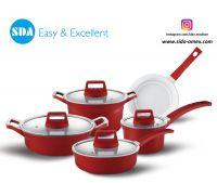 European Style Aluminum die cast non-stick cookware set with ceramic coating die-casting
