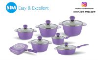 Floral Pattern Rose Aluminum die cast non-stick cookware set with ceramic coating die-casting