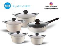Korean Style Aluminum die cast non-stick cookware set with ceramic coating die-casting
