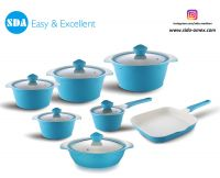 Wave Pattern Aluminum die cast non-stick cookware set with ceramic coating die-casting