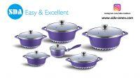 Energy Efficient Aluminum die cast non-stick cookware set with ceramic coating die-casting