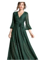 Women's V Neck Elegant Floral lace Dress - Bell Sleeve Formal Long Dress