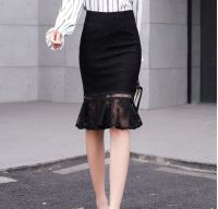 Girl's sexy black lace skirt