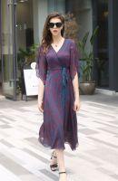 Women's short sleeve silk Midi Dress