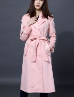 Women's Pink Double-Breasted Trench Coat with Belt