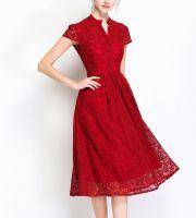 Women's short sleeves Elegant Floral lace Dress