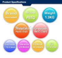Kexcelled High Quality 3D Printer Filaments PETG plastic 1.75mm/3.00mm for 3d printer low price PETG filament