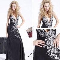 high-end black v-shaped evening dress