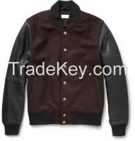 BAMBINO LEATHER AND WOOL-BLEND BOMBER JACKET
