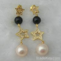 Glod plated star Pearl Drop earrings