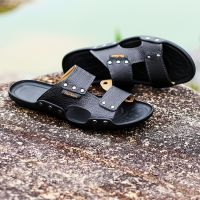 Casual men sandals summer tide mens slippers rivet british man beach sandals genuine cow leather lazy pedal flip flo