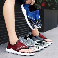 Summer Men Flip Flops Male Mixed Color Slippers Men Casual net fabric rubber Shoes Summer Fashion Beach Sandals