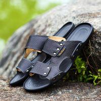 Casual men sandals summer tide mens slippers rivet british man beach sandals genuine cow leather lazy pedal flip flo