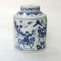 RYQQ16 10.5inch Hand painted Qing dynasty reproduction Blue White Ceramic Jar