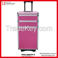 2015 Pink Fireproofing Aluminum Trolley Beauty Case Travel Case Cosmetics Packaging