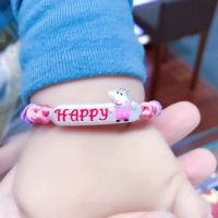 NEW & HOT! Children Sterling Pure Silver Jewelry Child Happy Peppa Pig Red Rope Bracelets Gift Box
