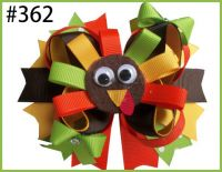 "4.5""Thanksgiving Gobble Gobble Turkey Thanksgiving Turkey Hair Bow Tommie Turkey Hair Clip Holiday Hair Clip"