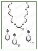 Marcasite set of Necklace, Pendant, Earrings with Natural Seed Pearl