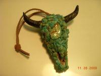 Handmade Kingman Turquoise covered mini resin bullhead/pottery magnet