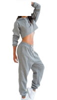 custom dance cheap slim fit Jogging Suit Tracksuit sweatsuit training suit jogging crop top women ladies fleece french terry