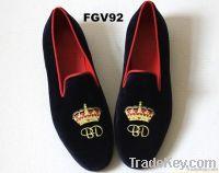 Embroidered velvet loafers