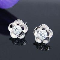 fashion silver  earrings, plum flower stud earrings