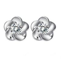 fashion silver  earrings, plum flower stud earrings