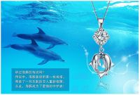selling  lover necklace, silver pendants, couple dolphin zircon pendant, plated 3 levels platinum