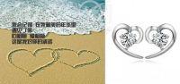 sterling silver earrings, heart shape jewelry