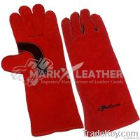 Leather Welding Gloves RED
