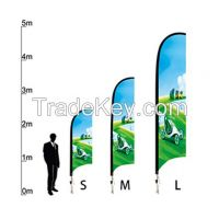 Heat transfer printed Custom large prints promotional banners, waving bowhead banner of Feather Flying Banners with 110gsm warp knitting fabric