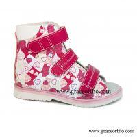 girl Orthopedic Sandal leather high sandal for corrective flat foot