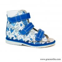 girl Orthopedic Sandal leather high sandal for corrective flat foot