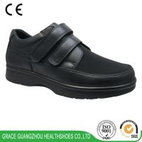 Black Diabetic Prophylaxis Shoes Comfortable Leather Shoes Wide Fit Shoes for Plantar Faciitis, Hammer Toe, Foot Pain