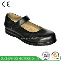 Women comfortable Mary-Jane shoes seamless lining deep and wide diabetic leather shoes