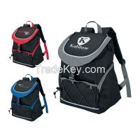 PEVA Lined Backpack Cooler Bag, with Front Pocket, with 2 Side Mesh Pockets