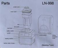 LN-998 1600W BLDC Low Noise Smoothies Machine Blender 1.1L Color Touchscreen