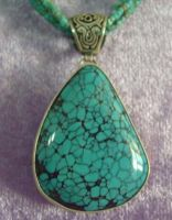 Natural Turquoise Pendant - Turkish Silver
