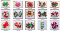 Christmas feather hair bows Candy Cane Bow Santa Hair clip Reindeer Headband layered corker bows