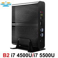 Partaker B2 Fanless Mini PC Intel Core I7 4500u i7 5500u i7 5550u i7 4558u Barebone Max 16G RAM 512G SSD 1TB HDD Free WiFi HDMI
