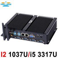 Fanless mini pc industrial computer with USB 3.0 Dual Gigabit Lan 4 COM HDMI Intel Celeron C1037U Core i5 3317U Windows 10 Linux