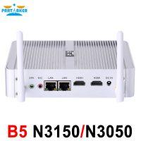 Partaker B5 Fanless Desktop Computer Mini Pc N3150 N3050 with Dual Lan Dual HDMI Free WiFi Barebone Max 8G RAM 512G SSD 1TB HDD