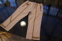 woven pants with washable leather contrast fabric