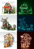 3D DIY Windmill Grow in the dark Puzzle Jigsaw Toys