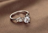 925 Sterling Silver Plated 3 Round Stone Cubic Zirconia Engagement Wedding Ring