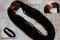 Black beaded necklace with unique wooden clasp