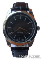 Mens wrist watch with leather strap, man's wrist watches